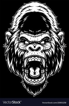 Royalty-Free Vector Images by (over Gorilla Tattoo, Animal Sketches, Art Sketches, Gorilla Wallpaper, Evil Cartoon Characters, Monkey Art, Bird Silhouette, Stencil Art, Stencils