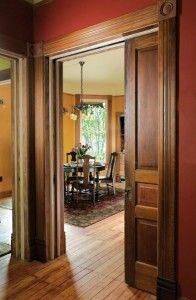 Beautiful woodwork- I love pocket doors!