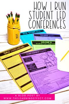Student Led Conference tips and ideas for the elementary classroom. Students love showing their parents the learning they've done in math and reading. See the script and forms I use for my conferences. These tools are perfect for 3rd, 4th, and 5th grade at the elementary level. FREE goal setting pennants included in this blog post! #thelearningeffect #studentledconferences