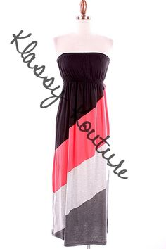 Coral and Black Maxi Dress  $28.00