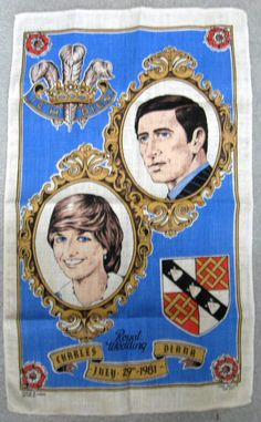 Tea Towel Prince Charles And Princess Diana Royal Wedding Blue 1981