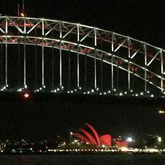 Chinese New Year 2016 year of the FireMonkey. Harbour Bridge & Opera House are red in celebration. #sohlunar#chinesenewyear#sydney#iseered#sydneyharbourbridge#sydneyoperahouse#yearofthemonkey2016 by franfvdk http://ift.tt/1NRMbNv