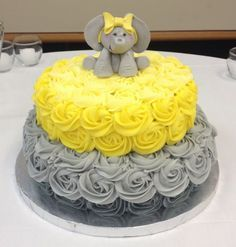 Yellow And Grey Elephant Baby Shower Cake on Cake Central