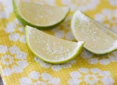 Margarita Jello Shots (12 whole limes 1 cup limeade 2 envelopes plain gelatin 3/4 cup tequila 2 Tbs triple sec 1 Tbs sweetened lime juice 1 Tbs kosher salt)