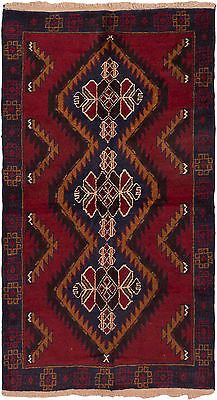 "Hand-knotted Afghan Carpet 3'5"" x 6'0"" Kazak Traditional, Tribal Red Wool Rug"