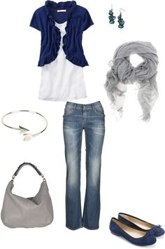"""blue and silver"" by sassymel75 on Polyvore"