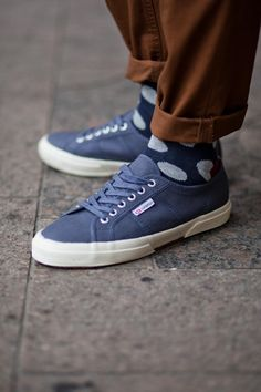 superga sneakers + spotted socks
