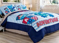 Cute Dragon Adventure Kids 4-Piece Duvet Cover Set #bedding #bedroom #boys
