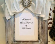 Wedding Picture Frame Embellished With Multilayer Cream White Taffeta Ribbon Bow Stunning Rhinestone Accent Elle S Fashionably Famous Frames