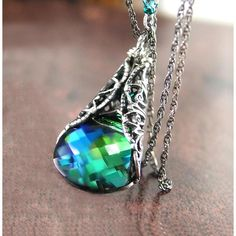 Aqua Emerald Necklace Sterling Silver Swarovski Blue Green Crystal Necklace Victorian Forest Green Necklace ($38) found on Polyvore