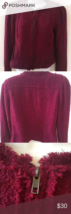 CAbi Britt Women' Merlot Wine Blazer/Jacket Size 6 Cabi Britt Women's Merlot Wine Size 6 Jacket, no rips or tears, it's in pre-owned, used condition, shows normal signs of wear. front zip, striped inside, please see all pictures carefully, smoke free home, any questions please message me, thanks for looking and have a great day! CAbi Jackets & Coats Blazers