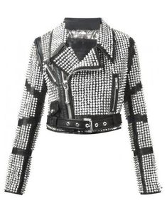 New Women's Handmade Silver Studded Leather Punk Studs Biker Leather Jacket Studded Leather Jacket, Biker Leather, Cowhide Leather, Leather Jackets, Real Leather, Black Leather, Steam Punk, Jacket Style, Mantel