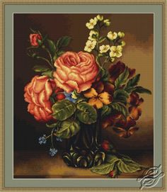 Vase of Roses and Flowers - Cross Stitch Kits by Luca-S - 491