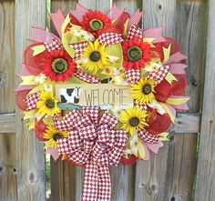 Welcome Wreath Sunflower wreath Mother's Day Gift Red
