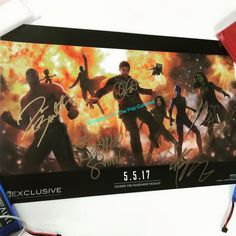Guardians of the galaxy poster signed by cast members who attended SDCC 2016