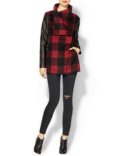 Plaid and leather combo jacket (Inspiration)