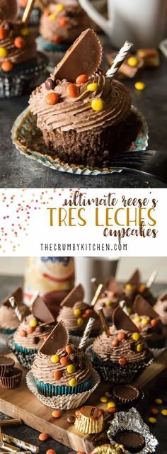 These super-moist, delicious Ultimate REESE'S Tres Leches Cupcakestake classic tres leches cake, shrink it down, and add a fun peanut butter twist! The ganache and chocolate whipped cream truly make these treats irresistible! #chocolate #tresleches #cupc