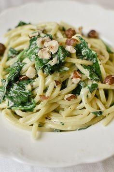 Spaghetti with Mascarpone, Meyer Lemon, Spinach, and Hazelnuts