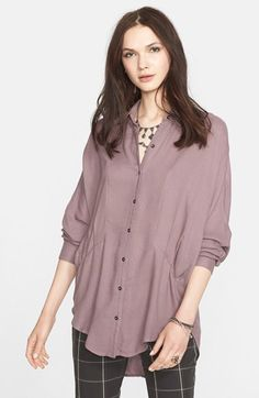 Free People 'True Affection' Herringbone Button Front Shirt -- like the pink on dark plaid windowpane pants