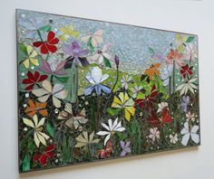 FLORAL MOSAIC MURAL    size: 3 ft x 2 ft - 1/2 thick BACKING:     I create my murals on 1/4 cement fiber tile-board such as what you might find