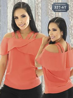 Blusa Moda Colombiana Tabbachi - Ref. 236 -327-6 Naranja Smart Casual, Casual Looks, Twin Girls, Girl Fashion, Womens Fashion, My Style, Cute, Summer, Image