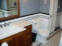 Vintage black and white subway tile bathroom - Retro Renovation White Bathroom Tiles, Small Bathroom Remodel, Black Bathroom, White Subway Tile, Bathrooms Remodel, Small Remodel, Retro Renovation, Black Tile Bathrooms, Black And White Tiles