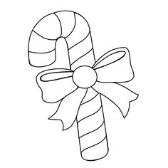 View The Pictures Of A Candy Cane And Bow Print Color Drawing