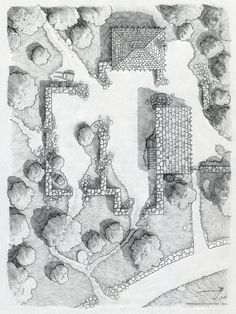Ruins near Cragford by Sirinkman - Pencil on 7.5 x 10 inch Moleskin sketchbook Encounter map drawing of a small ruined castle near Cragford in the Old Fog mountains, on the world of Luma.