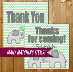 Baby Shower Games Elephant Mint Green Favor Tags Printable Instant Download