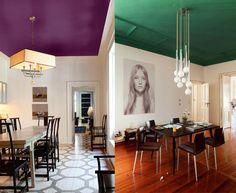 As paredes são brancas, mas o teto é colorido! Descubra o efeito que dá com essa pequena mudança nos ambientes dentro de cas...