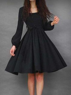 レディースファッション丸ネック長袖ベルト付きAラインワンピース 11508505 , 新作ドレス , Doresuwe