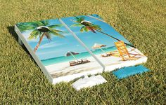 Sunny Beach Scene Cornhole Game Set by JRHCornhole on Etsy, $169.99