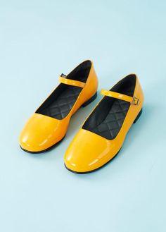 "Nordic ShoePeople: Flad, ""Mary Jane"" laksko - gul"