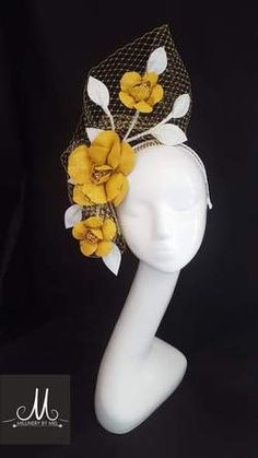 Dark yellow leather flower with white leather leaves and yellow veil Fascinator Hats, Headpiece, Fascinators, Lilac Fascinator, Boho Outfits, Trendy Outfits, Sewing Projects For Guys, Sewing Ideas, Clothes For Women In 30's