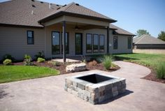 Custom Homes, outdoor firepit