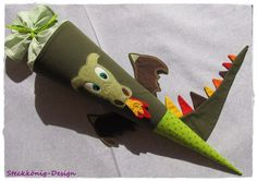 Schultüten - Schultüte / Zuckertüte Drache mit Namen - ein Designerstück von Steckkoenig-Design bei DaWanda