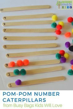 Pom-pom number caterpillars busy bag, activities kids will love! Preschoolers learn to count.
