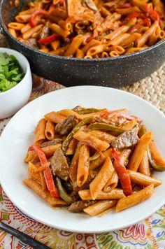 Slimming Eats Syn Free One Pot Beef Fajita Pasta - Slimming World and Weight Watchers friendly