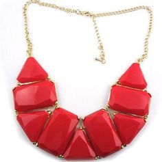 Golden Metal Olong Triangle red Resin Gem Choker Bib Statement Necklace(wp-52) wiipujewelry. $18.99. Length: 42cm.. Acrylic beaded linked necklace.. Alloy Necklace. Golden Metal Olong Triangle Resin Gem Choker Bib Statement Necklace. Strands Braided Beads Chunky Bib Collar Necklace