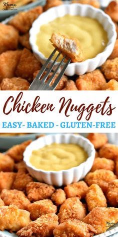 Easy homemade baked gluten-free chicken nugget recipe that is seasoned perfectly. - Easy homemade baked gluten-free chicken nugget recipe that is seasoned perfectly and has just the r - Gluten Free Chicken Nuggets Recipe, Homemade Chicken Nuggets, Healthy Chicken Nuggets, Gluten Free Recipes For Kids, Gluten Free Cooking, Gluten Free Lunches, Gluten Free Recipes With Chicken, Shrimp Recipes, Gluten Free Snacks