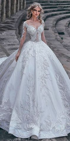 30 Ball Gown Wedding Dresses Fit For A Queen ❤ ball gown wedding dresses princess lace sweetheart neck lace long sleeves said mhamad ❤ See more: http://www.weddingforward.com/ball-gown-wedding-dresses/ #weddingforward #wedding #bride