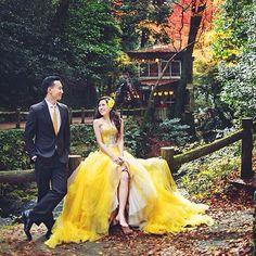 Photo by: @indigosixphotoworks   Lemon Tulle Long Gown    #provocatebymeltatan #tulle #long #gown #dress #rent #design #yellow #lemon #love #prewed #photo #fairytale #style #fashion #jakarta #love #sweet