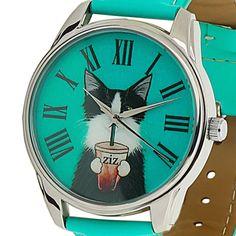 Cat Women Casual Wrist Watch Quartz Leather Band Green Dial Gift Ideas for Her #ZIZ #Fashion