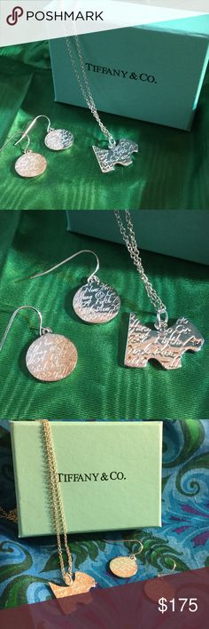 Tiffany Necklace & Earrings Lovely little dog Pendant chain and earring set in Sterling Silver !  Makes a great gift or gift to yourself !  Ladies grab your husbands & boyfriends and send them to The Praline Queens closet  ! Tiffany & Co. Jewelry