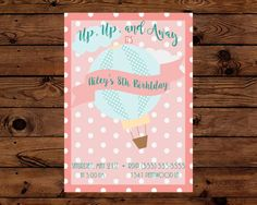 Up Up and Away Hot Air Balloon Birthday by TeaTimePrintables