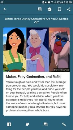 Which Three Disney Characters Are You A Combo Of? Disney Cast, Disney Movies, Disney Characters, Disney Buzzfeed, Quizzes For Fun, Tough As Nails, Fairy Godmother, In A Nutshell, The Voice