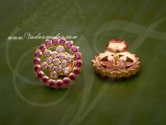 Round Ear studs in AD and Ruby stones @ Vadaamalar Creations Gold Ring Designs, Gold Bangles Design, Gold Earrings Designs, Jewelry Design, Gold Jewelry, Beaded Jewelry, Gold Necklace, Pearl Earrings, Diamond Studs