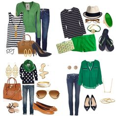 Navy Blue and Green Outfits. Love these colours together