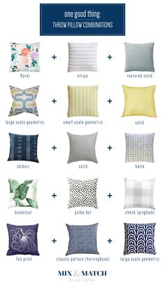 One Good Thing: Throw Pillow Combinations — Mix & Match Design Company How to mix and match throw pillow fabrics and styles! Living Room Furniture, Home Furniture, Living Room Decor, Furniture Stores, Cheap Furniture, Furniture Chairs, Living Spaces, Sofa Pillows, Decor Pillows