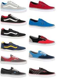 VANS AUTHENTIC ERA OLD SKOOL VULCANISE NAVY BLACK BLUE RED TRAINERS SHOES SIZE